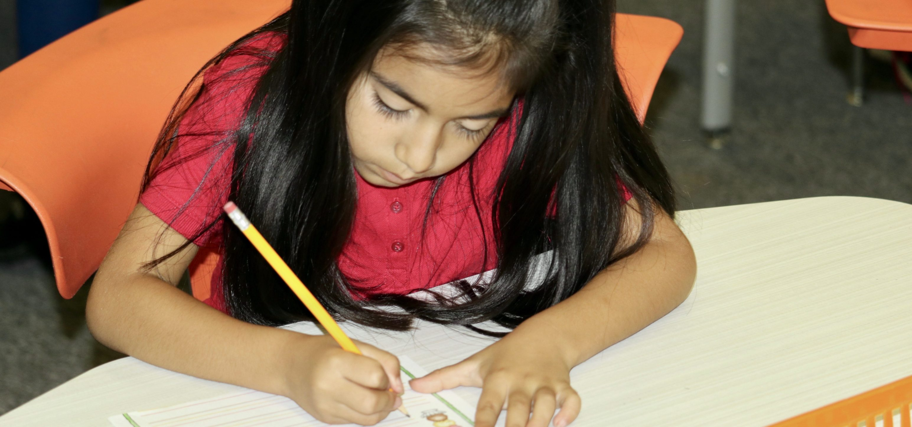 Girl in first grade concentrates on her schoolwork.